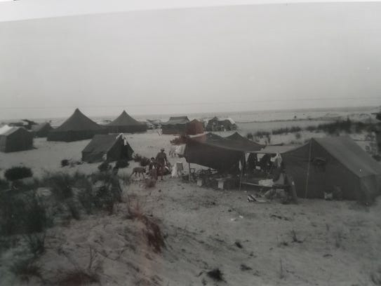 Camping on the beach in 1955.