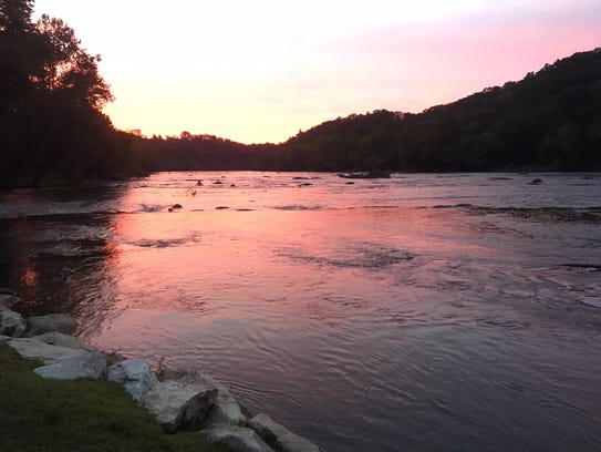 Sunset over the French Broad River from Olivette Farm