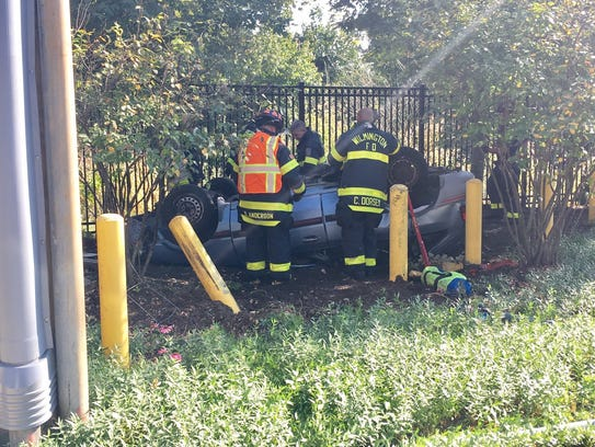 Emergency crews respond to a crash at Seventh Street