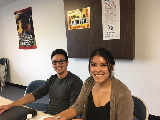 Lucas Zucker (left), and Ocil Herrejon work with the Central Coast Alliance United for a Sustainable Economy. Herrejon is the Santa Paula Youth Organizer.