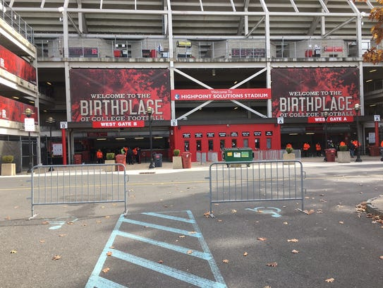 Entrance to Rutgers' High Point Solutions Stadium in