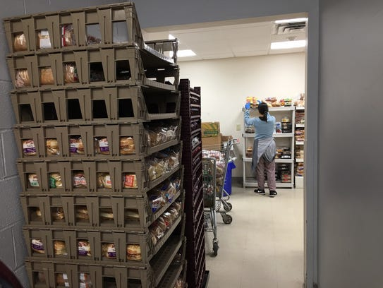Shelves of bread stacked at the Franklin Food Bank.