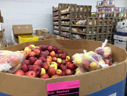 A large container of apples at the Franklin Food Bank.