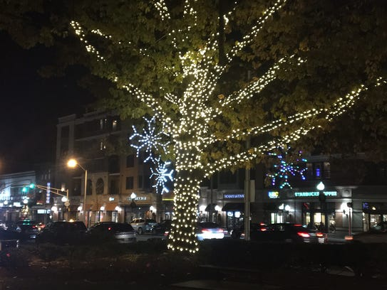 Trees on the Morristown Green are being lit in peparation