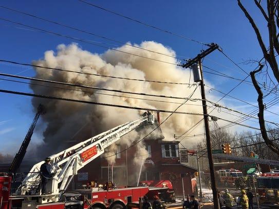 Firefighters battle Nov. 27, 2017 blaze that gutted