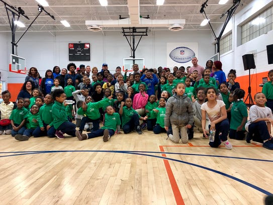 Buster Skrine and guests at the Boys and Girls Club of Newark on Tuesday, November 21st.