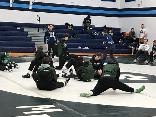 Wrestler warm up for Waldwick tournament honoring fallen