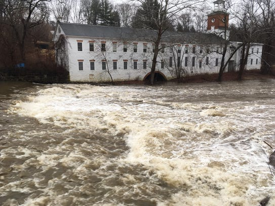 Brandywine River  was running high and fast Sunday
