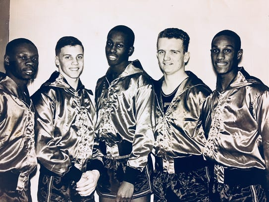 The starting five for Neptune's 1962 Shore Conference