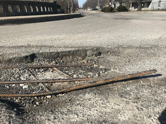 This 3-foot length of rebar protruded from a small bridge over Pogue's Run Creek on Oriental Avenue near Arsenal Tech High School.