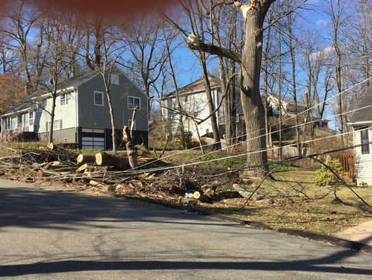 Power lines were still down Tuesday afternoon on Ferndale
