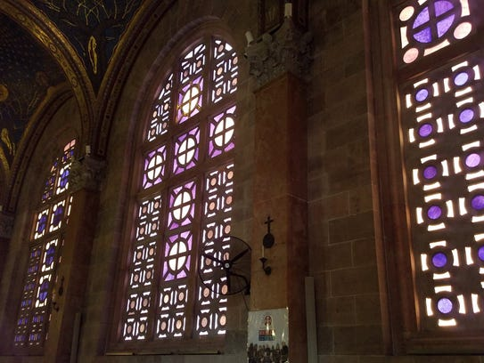 Stained-glass windows seen in the Church of All Nations.