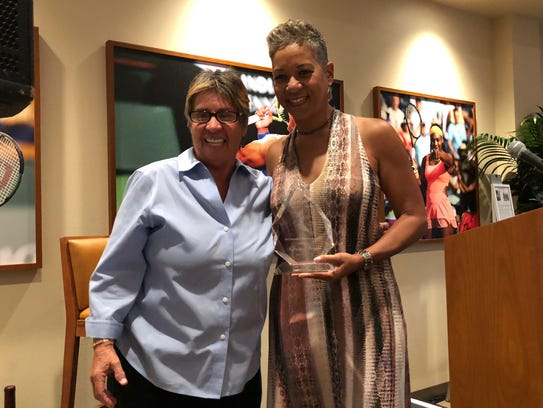 From left, tennis hall of famer Rosie Casals and USTA