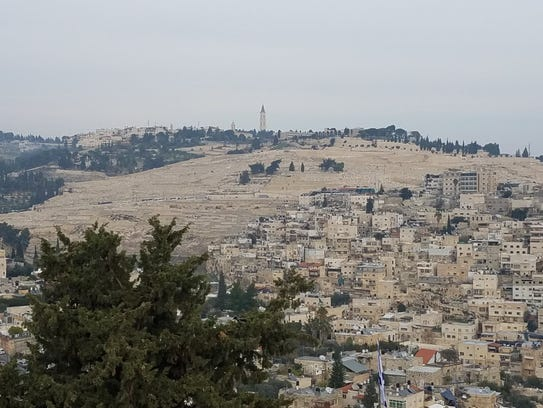Mount of Olives seen from the Church of St. Peter in