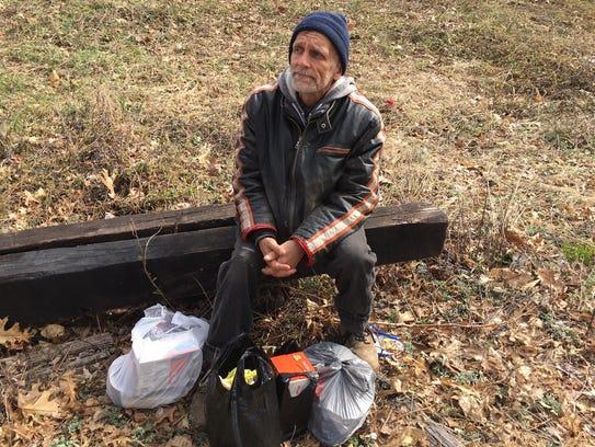 Darryl, a resident of the tent city along the Dunellen