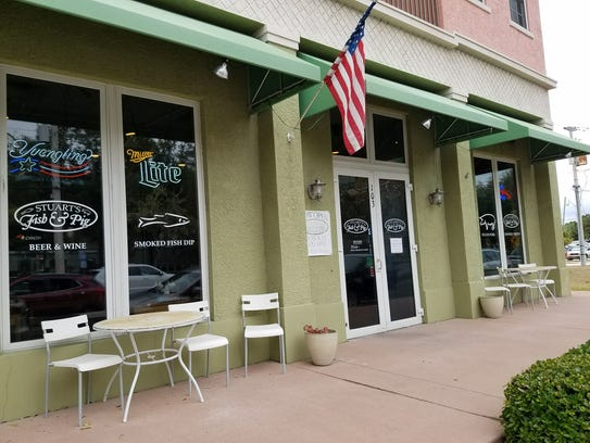 Stuart's Fish & Pig is directly across from the courthouse