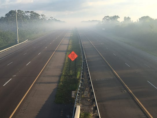 Smoke from a 660-plus acre brush fire is keeping Interstate