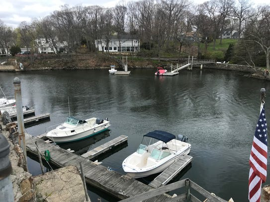 A private marina along the Byram River in Port Chester