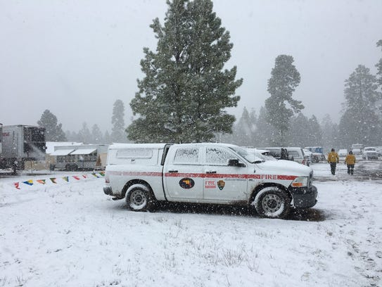 Snow fell at the Tinder Fire Incident Command Post, May 2, 2018.