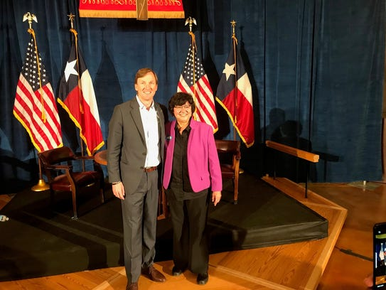 Andrew White and Lupe Valdez after their debate in