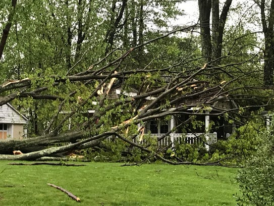 A tree fell on a house on Lakeshore Drive in Lake Carmel.