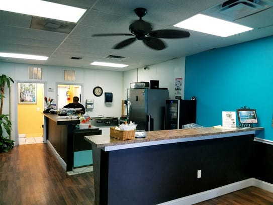 View of the kitchen area at Smiling Flavors Caribbean