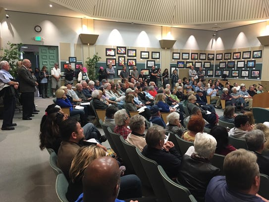 Many people at the City Council meeting Monday night were part of Save the Port Hueneme Coast, a group of residents formed to oppose development at the beach.