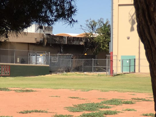 A building on Alhambra High School's campus suffered