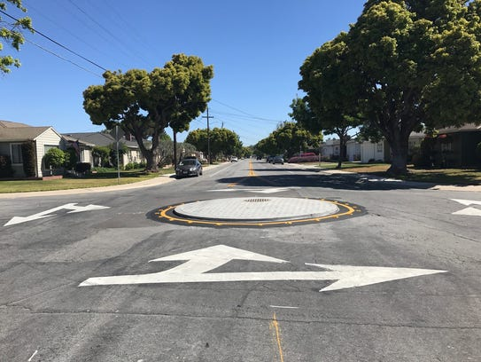 Traffic circles have been installed on Riker Street