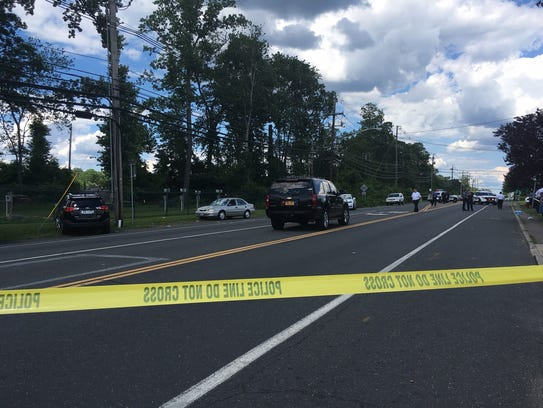 The scene where three people were struck on Route 59
