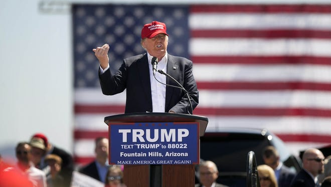 Republican presidential candidate Donald Trump speaks during his rally in Fountain Hills on Saturday, March 19, 2016.