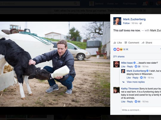 Mark Zuckerberg visited with the Gant family on their