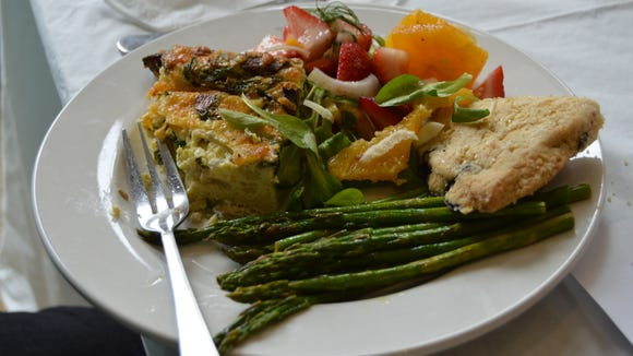 Jen Myer's cooking demo on Thursday at the Bayside Institute in Fenwick showed participants how to prepare strawberry citrus salad, roasted asparagus, baked omelette and blueberry scones.