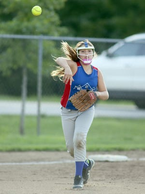 Show-Me State Home Inspections third baseman Rowan Stock throws out a player from Lady River Rats in the first game of a doubleheader Monday night in Babe Ruth 12Usoftball at Rolling Hills park.
