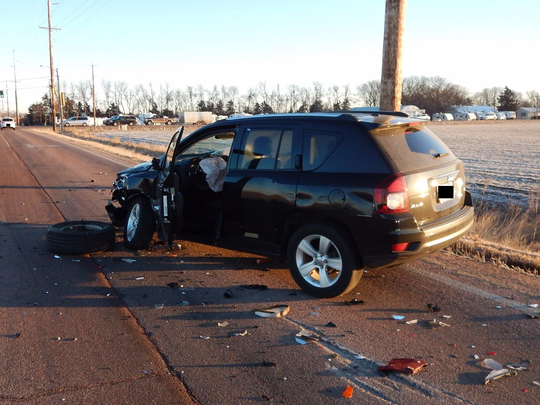 A Jeep Compass was struck in a hit-and-run crash Thursday morning south of Sioux Falls.