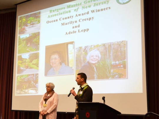 Steve Yergeau, RCE Environmental and Resource Management Agent in Ocean County, presenting Marylin Crespy with the Award for Excellence for her tireless volunteer efforts in Ocean County