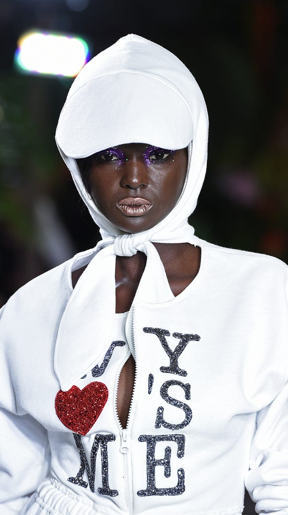 Duckie Thot wore a white hoodie look on the runway