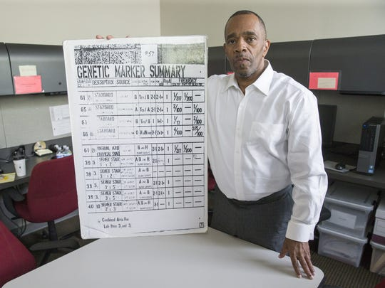 Darryl Pinkins met with journalists at IUPUI on June 1, 2016. Pinkins was freed in April after 25 years in prison following a 1991 wrongful conviction on rape and robbery charges. DNA data in Pinkins' case had always been available, but crime lab analysts were unable to accurately interpret it until 2015.