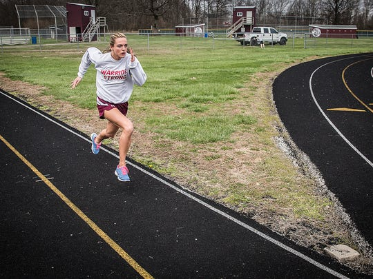 Perrie Smalley runs sprints at Wes-Del high School