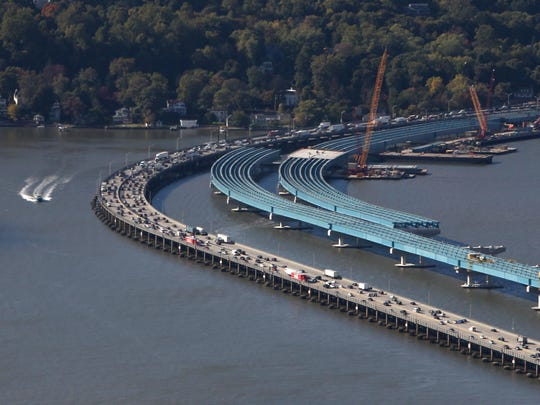Girders stretch out from the Rockland County shore during construction for the replacement for the Tappan Zee Bridge, as seen in October.