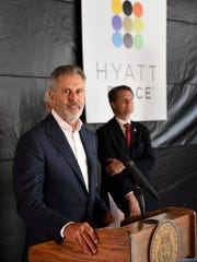 "Farragut Hotel developer Rick Dover announced as ""the worst-kept secret in Knoxville"" that Hyatt Place will occupy the historic hotel Monday, April 4, 2016."