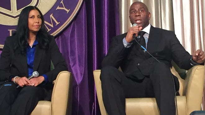 Basketball Hall of Famer Magic Johnson and his wife, Cookie, spoke to Lipscomb University donors Monday at Allen Arena.