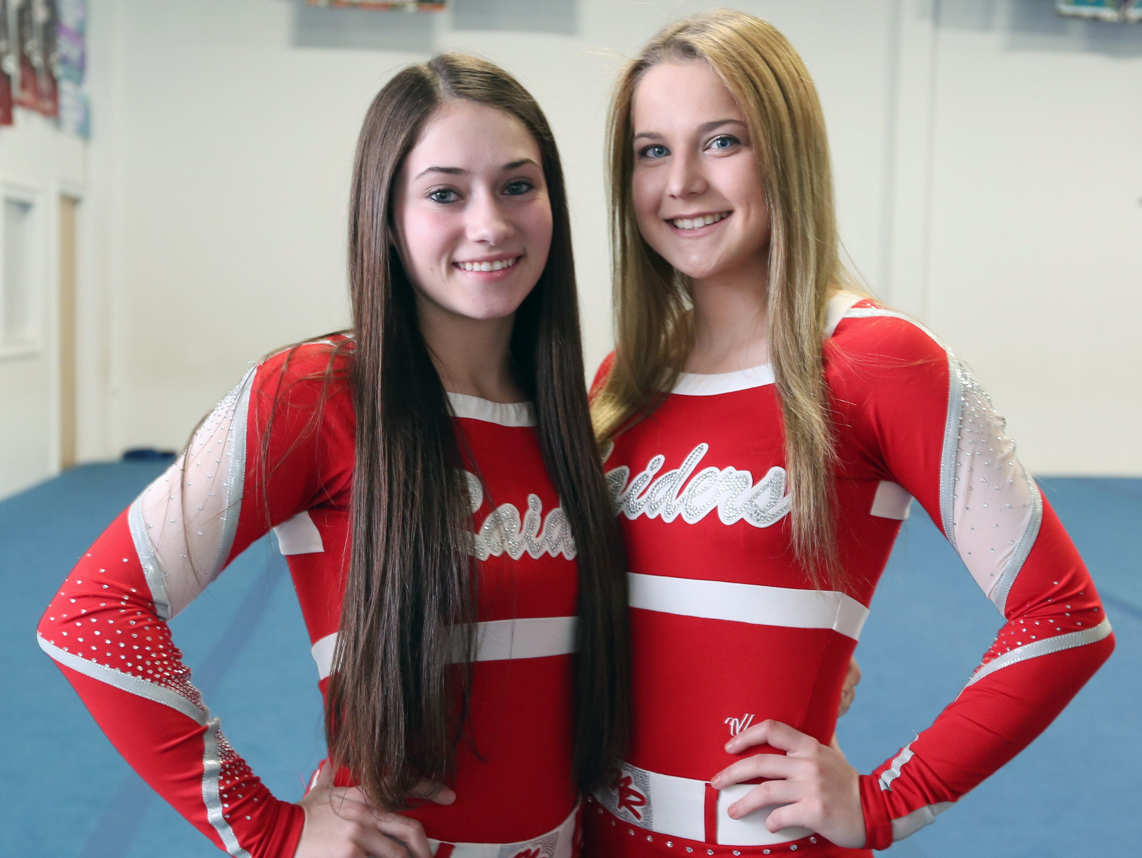 North Rockland's Julia Garrison, left, and Kaitlyn Garvey, Rockland co-cheerleaders of the year, April 1, 2016.