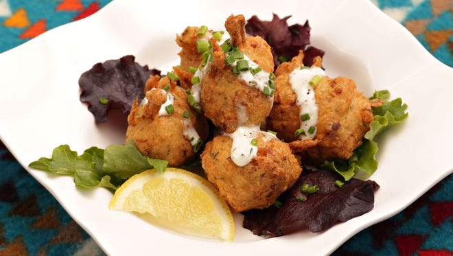 Three sisters corn fritters with tepary beans, and lemon aioli by Chef Nephi Craig of Sunrise Park Resort Hotel and Summit Restaurant as seen in Greer on Feb. 13, 2015.