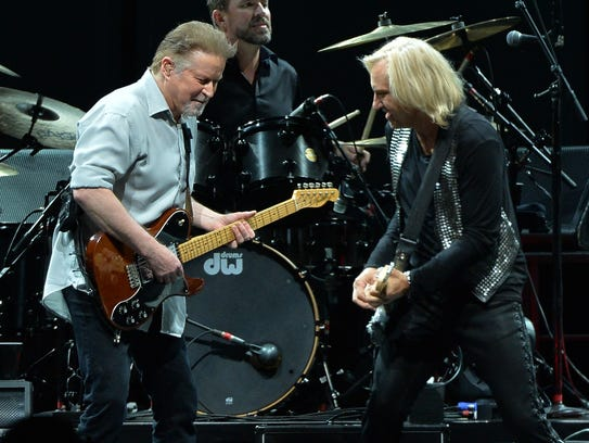 Don Henley (left) and Joe Walsh of the Eagles perform