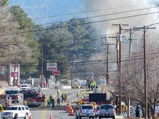 Sudderth Drive was blocked as firemen fought the blaze at The Old Mill.