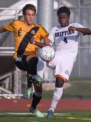 Senior midfielder/forward Justin LaFountain, left,