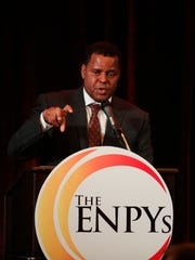 Michael Chatman, president and CEO of the Cape Coral Community Foundation, addresses attendees at the inaugural Excellence in Nonprofit Performance Yearly Awards (ENPYs) ceremony which was held Wednesday, October 18, 2017 at the Crowne Plaza Bell Tower. The ENPY's mission is to recognize the efforts of Southwest Florida nonprofit organizations and the individuals that serve them for their impact in our community.