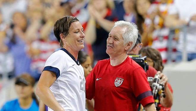 File Photo, June 20, 2013: Tom Sermanni and forward Abby Wambach (20) during the second half in game against the Korea Republic at Red Bulls Arena.