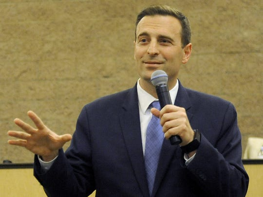 Nevada Attorney General Adam Laxalt spoke at Fernley City Hall Wednesday.